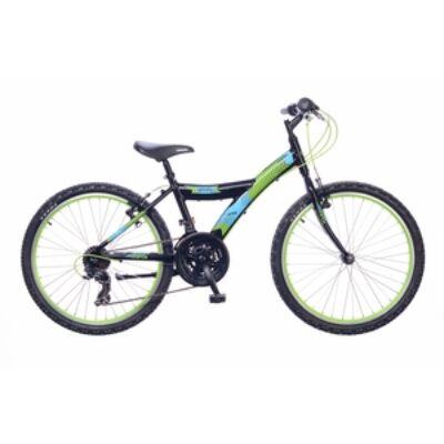 Kerékpár Neuzer Gyermek Max 24 18S fiú fekete/neonzöld