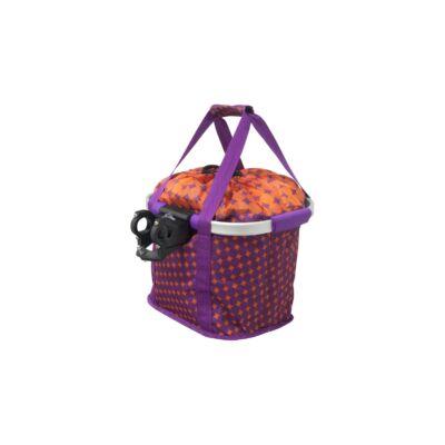 Kerékpáros kosár előre Fashion alukeretes klikkes 5kg-ig lila/narancs