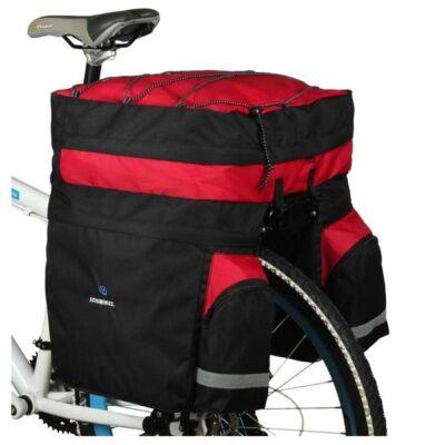 Kerékpáros túratáska csomagtartóra 3 részes fekete/piros esővédővel