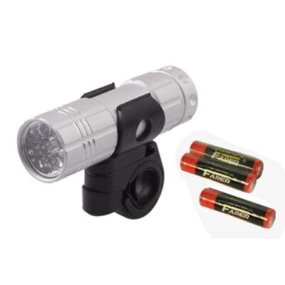 Lámpa első elemes 9 LED+Elem Ezüst