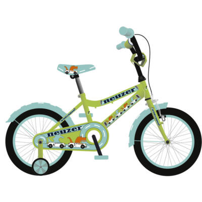 """Neuzer 16""""-os gyerek bicikli BMX fiú neonzöld/cián"""