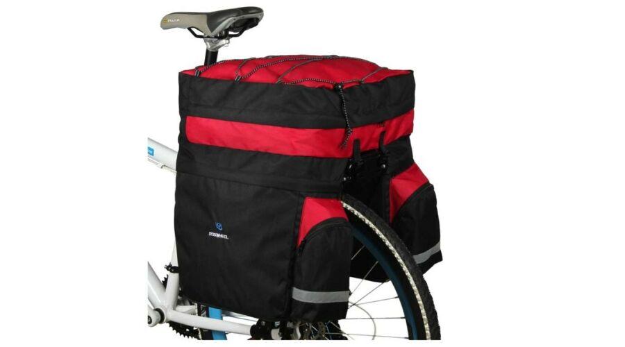 feca2e3d80fc Kerékpáros túratáska csomagtartóra 3 részes fekete/piros esővédővel